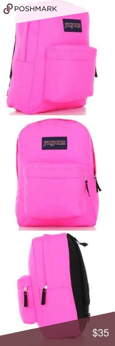 Pink Superbreak JanSport Backpack Featuring its classic silhouette, the JanSport SuperBreak® is perfect for every style of self expression. Includes lifetime warranty.  Features:  • 2/3 padded back panel  • Front utility pocket with organizer  • One large main compartment  • Straight-cut, padded shoulder straps  • Web haul handle  • Capacity: 1550cu in / 25 L  • Dimensions: 16.7in x 13in x 8.5in / 42 x 33 x 21 cm  • New never worn Jansport Bags Backpacks