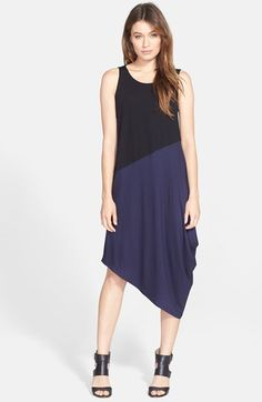 Eileen Fisher Asymmetrical Colorblock Jersey Dress (Regular & Petite) available at #Nordstrom