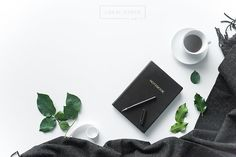 Black Notebook and Coffee on White Desk | Styled Stock Photo | Styled Stock Photography | Styled Flatlay Layflat | Product Background