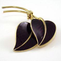 Vintage Hans Myhre Sterling Silver Large Modernist Purple Enamel Leaf Pin Brooch #HansMyhre