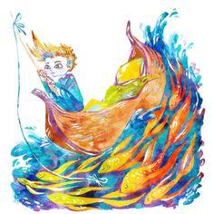 "Wish Fish Acrylic Illustration 5"" x 7"" Colorful Art Print #etsy #illustration"
