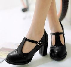 Black T-Strap High Heel Shoes