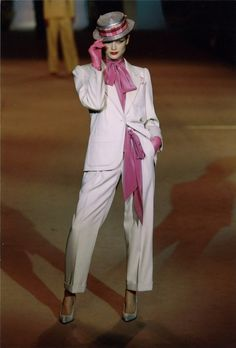 Yves Saint Laurent – 1978. That looks like Carolyn Murphy!