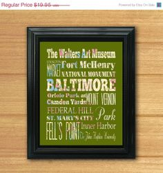 ON SALE Baltimore Maryland Typography Art by LegacyHouseArt, $14.95