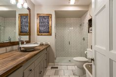 white-washed rustic modern bathroom.