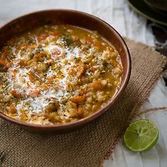 Classic Iranian whole barley soup made with whole barley, carrots, chicken stock and dill.