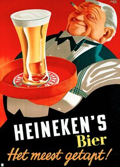 Vintage Heineken ad. Those colours and shading on the glass!