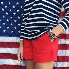 Love the stripes and Pom poms. Perfect for the summer.