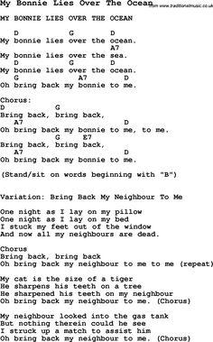 Summer-Camp Song, My Bonnie Lies Over The Ocean, with lyrics and chords for Ukulele, Guitar Banjo etc. Guitar Chords For Songs, Lyrics And Chords, Music Guitar, Guitar Wall, Song Lyrics, Guitar Diy, Music Chords, Tenor Ukulele, Ukulele Tabs