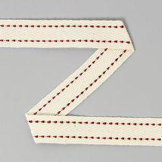 Fita de sarja com pesponto 6 (15) - Algodão - bordô - branco antigo