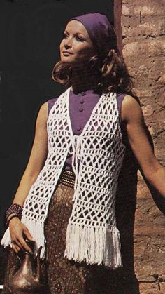 Lady's Crochet Waistcoat Patterns with Tassels Fashion Knits - Detailed item view - The Pattern Parlour Crochet Fringe, Knit Or Crochet, Crochet Shawl, Crochet Cardigan Pattern, Crochet Patterns, Crochet Waistcoat, Knit Fashion, Retro Fashion, Vintage Crochet