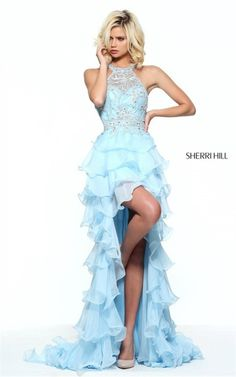 6998247dfd Lace Multi-Tiered Sherri Hill 51050 Open Back Beaded Halter Hi-Low Dress  Prom. Prom Dresses For ...