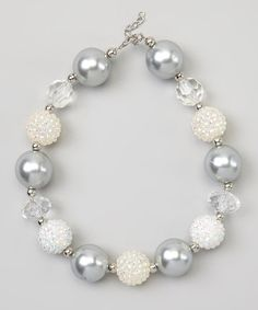 This White & Silver Sparkle Bead Necklace is perfect! #zulilyfinds