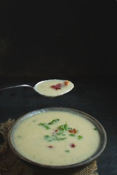 """This Low-Carb """"Potato"""" Leek Soup is a Paleo, low-carb, and dairy-free comfort food. No one will know this soup is made with cauliflower and not potatoes. This recipe was originally released on February 11, 2016. In fact, it was one of our very first recipes. I love this recipe, and others love it too. However, …"""