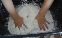 Shaving cream + corn starch = mold-able fluffy fun! December Sensory table!