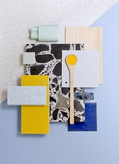 Weekly material mood 〰 Super chunky terrazzo and vibrant yellow  #terrazzo #yellow #wood #pigment #blue #acrylic #mint #paper  #pastels #grey #colour #design #material #mood #moodboard #studiodavidthulstrup