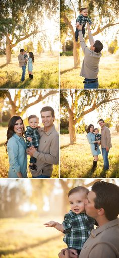 - Both the parents are in solids, while the little one is in a plaid. Really nice for making him the star of the shoot - Family Photography / Photo Session Ideas / Family Photoshoot