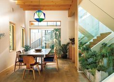 I LOVE EVERYTHING!!!  Inside greenery. That light fixture. The cream walls with yellow woods. Mmmmmm hmmm.
