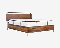 Scandinavian Designs - The Insigna bed mixes expert craftsmanship with rustic charm. Made from solid American poplar with a natural antique stain with metal legs and frame, and a metal railing along the headboard. There are two, easy accessible hidden storage drawers at the foot of the bed providing a great storage option. Queen bed pictured, click below from more sizes.