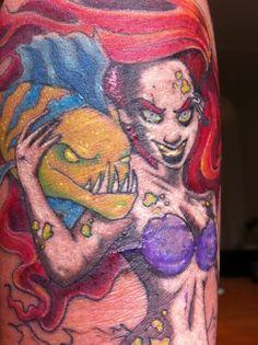 zombie little mermaid tattoo. Little Mermaid Tattoos, The Little Mermaid, Zombie Tattoos, Ariel And Flounder, Zombie Girl, Disney Little Mermaids, Beautiful Tattoos, Awesome Tattoos, Tattoo Designs
