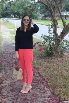 Navy and Coral J.Crew via With Style and a Little Grace