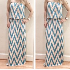 Gorgeous tube top maxi dress NWOT fabulous pink and blue, tube top maxi dress. Comfortable and just adorable. Tops