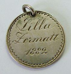 Victorian Swiss Silver Engraved Love Token Coin Charm LILLA ZERMATT 1882