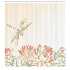 Dragonfly Shower Curtain Lotus Flower Field With Dragonfly Flying