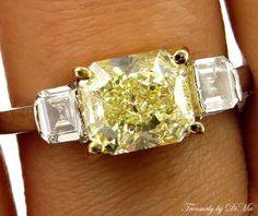 GIA 2.52CT ESTATE FANCY YELLOW RADIANT DIAMOND ENGAGEMENT WEDDING RING 3 STONE