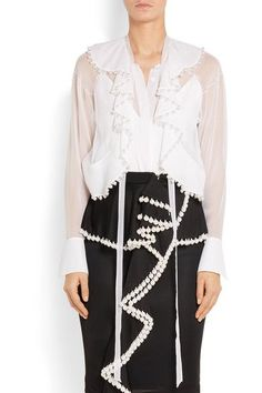 Givenchy - Faux Pearl-embellished Silk-chiffon Blouse - White - FR