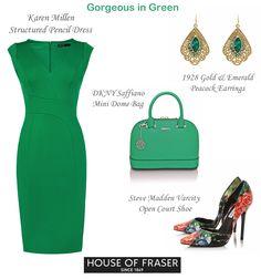 Karen Millen structured green pencil dress