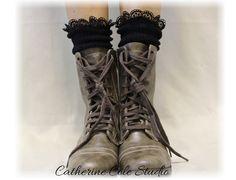 MISS TORI in Black Socks lace boot socks by CatherineColeStudio, $17.50