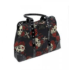 BAG OF SKULLS Bag by Sullen. This tattoo inspired pocketbook features faux leather with two handle straps and a full zip closure with logo zipper pull. Bag also includes a reinforced straps and custom logo plaque. Interior of bag features signature lining, zip pocket and double patch pocket.