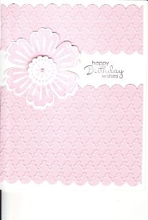 Card made with embossing folder, edge punch for scallops, and Stampin Up stamps with mini pearl accent in center of flower. . . message could be birthday, get well, thinking of you, etc. . . try with different colors