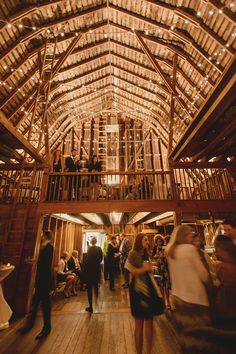 Rustic Barn Reception with String Lights