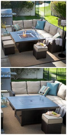 Could go well on the loft deck. The table is pretty cool but would need to figu - Patio Table - Ideas of Patio Table - Could go well on the loft deck. The table is pretty cool but would need to figure out with the drain Fire Pit Furniture, Backyard Furniture, Outdoor Furniture Sets, Pallet Furniture, Pallet Couch, Sectional Furniture, Diy Couch, Sectional Sofas, Fire Pit Seating