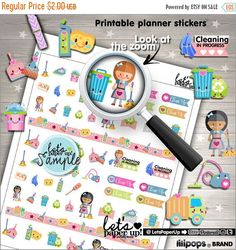 60%OFF - Clean Up Stickers, Printable Planner Stickers, CleanUp Stickers, Kawaii Stickers, Erin Condren, Chore Stickers, Cleaning Stickers,