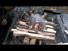 UPSIDE DOWN FIRE. Unconventional yet effective way to make a fire. Very cool! Self-feeding, low maintenance, oxygenating... works extremely well! Have tried multiple times and can verify that it is truly effective! Goes against everything we have all learned about building a fire... but it works!!!