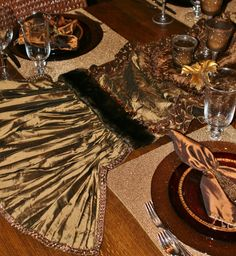 Reilly-Chance Collection Luxury Table Runners, for all your tables - This Bronze silk table runner with faux mink and beads is very versatile. It is perfect for an entry or side table.