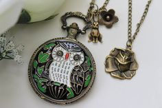 Alice in Wonderland - Antique #OWL Pocket Watch Necklace #locket with Rabbit and Rose Flower Charm