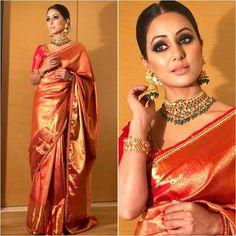 Love the eye makeup Sarees in 2019 Banarsi saree, Saree eye makeup for yellow saree - Eye Makeup Indian Wedding Outfits, Bridal Outfits, Indian Outfits, Indian Clothes, Banarsi Saree, Lehenga, Sabyasachi Sarees, Kanjivaram Sarees, Sari Bluse
