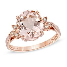 Love -- Oval Morganite and Diamond Accent Ring in 10K Rose Gold