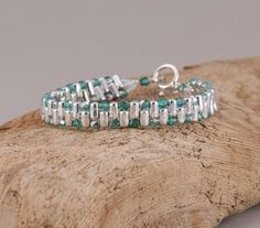 Silver and Turquoise Rulla bead bracelet | TheCraftyPeacock - Jewelry on ArtFire