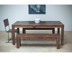 This table was hand crafted using reclaimed timbers from architecture dating back to the 1870s! Modern minimal lines combine with the natural beauty of the ecologically friend wood to create a piece that is truly contemporary.