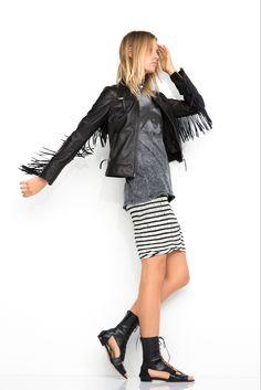 Pam & Gela   Spring 2015 Ready-to-Wear   28 Black leather fringed jacket, grey tie-dye t-shirt and monochrome striped mini skirt