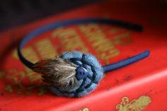 Bridgette Blue Feather Headband by YellowElm on Etsy