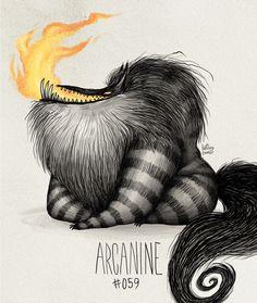 Arcanine #059 Part ofThe Tim Burton x PKMN ProjectBy Vaughn Pinpin
