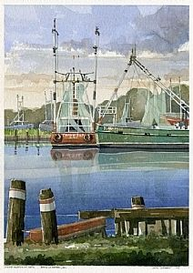 The Shrimpers by Iain Stewart, watercolor ~ 13 x 9