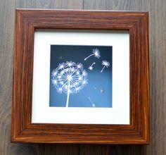 Dandelion 'Make a wish' - Beautiful framed original floating papercut