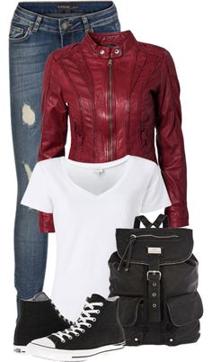 """Red Leather Jacket, Ripped Jeans, and a White T-Shirt"" by fashion-766 ❤ liked on Polyvore"